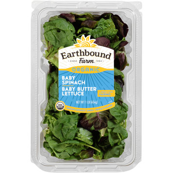 Earthbound Farm® Organic Baby Spinach/Baby Butter Lettuce 1 lb. Clamshell