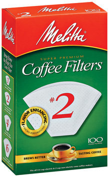Melitta® White Paper Cone Coffee Filters, #2 Size, 100 count