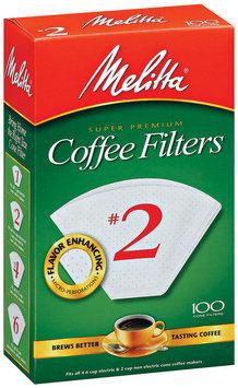 Melitta® White Paper Cone Coffee Filters, #2 Size, 100 count