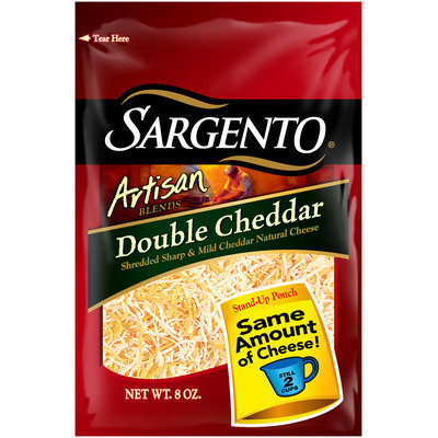 Sargento® Artisan Blends® Double Cheddar Shredded Cheese 8 oz. Stand-Up Bag
