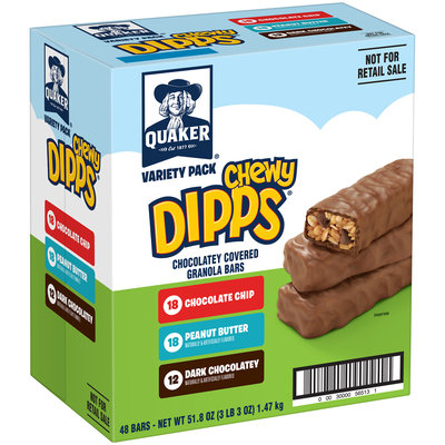 Quaker Chewy Dipps Chocolate Covered Granola Bars Variety Pack