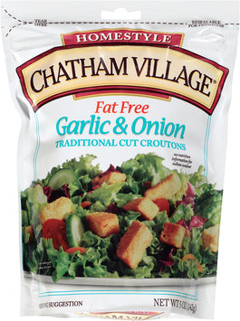 Chatham Village® Fat Free Garlic & Onion Traditional Cut Croutons 5 oz. Bag