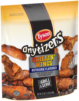 Tyson® Any'tizers® Grillin' Wings™ Rotisserie Flavored Chicken Wings 24 oz. Bag