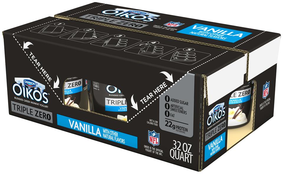 Dannon® Oikos® Triple Zero Vanilla Greek Yogurt 6-32 oz. qt. Plastic Tubs