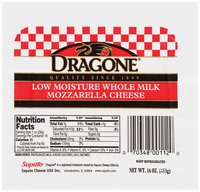 Dragone® Low Moisture Whole Milk Mozzarella Cheese 16 oz. Pack