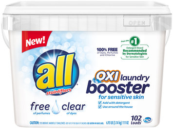 all® free clear OXI Laundry Booster for Sensitive Skin 102 Loads 6.93 lb. Tub