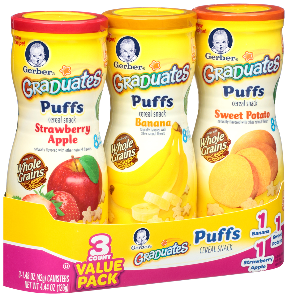 Gerber® Graduates® Banana/Sweet Potato/Strawberry Apple Puffs Cereal Snacks Value Pack 3-1.48 oz. Canisters