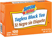 Special Value Black Tagless Tea Bags 100 Ct Box