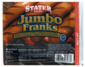 Stater Bros. Jumbo Franks 16 Oz Pack