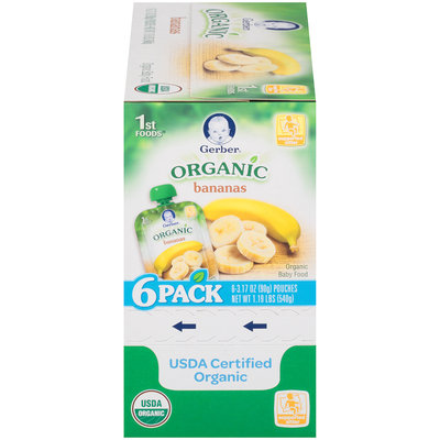 Gerber Organic 1st Foods Bananas Baby Food 6-3.17 oz. Pouches