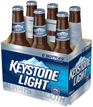 Keystone Light Longneck 12 Oz Beer 6 Pk Glass Bottles
