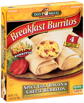 Don Miguel® Spicy Egg, Bacon & Cheese Breakfast Burritos 17 oz. Box