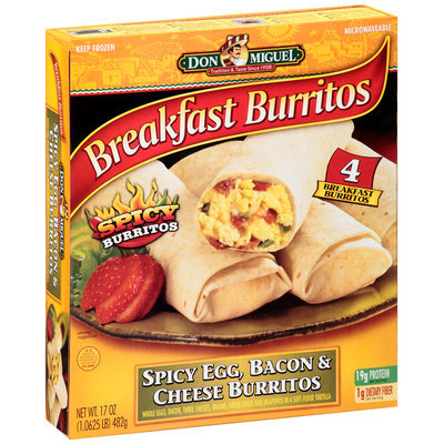 Don Miguel® Spicy Egg, Bacon & Cheese Breakfast Burritos 17 oz. Box