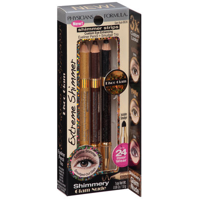 Physicians Formula® Shimmer Strips Extreme Shimmer Glam Nude Eyeliner Pencil + Smudger Trio 0.06 oz. Box