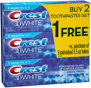 3D White Crest 3D White Arctic  Fresh Icy Cool Mint Flavor Whitening Toothpaste, 3.5 oz, Buy 2 Get 1 Free