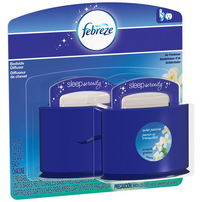Febreze Sleep Serenity Bedside Diffuser Quiet Jasmine Air Freshener Value Pack 2-0.18 fl. oz. Carded Pack