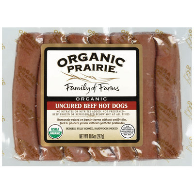 Organic Prairie Organic Frozen 7 Ct Beef Hot Dogs Uncured 10.5 Oz Package