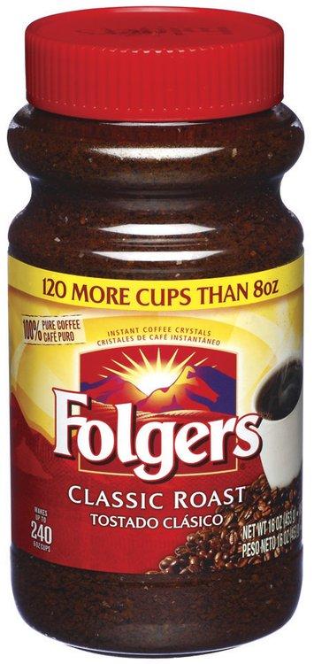 Folgers Classic Roast Instant Coffee 16 Oz Plastic Jar