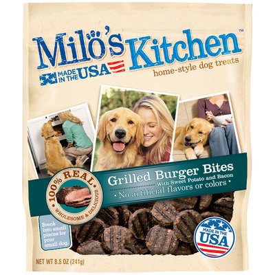 Milo's Kitchen Grilled Burger Bites with Sweet Potato and Bacon Dog Treats, 8.5 oz. Pouch