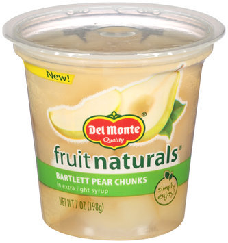 Del Monte® Fruit Naturals® Bartlett Pear Chunks in Extra Light Syrup 7 oz. Cup
