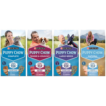 Purina Puppy Chow Tender & Crunchy Puppy Food Family Group Shot