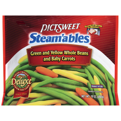 STEAM'ABLES DELUXE Green & Yellow Whole Beans & Baby Carrots Vegetable Mix 10 OZ STAND UP BAG