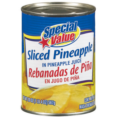 Special Value Sliced In Pineapple Juice Pineapple 20 Oz Can