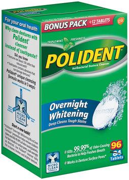 Polident® Overnight Whitening Triple Mint Freshness Antibacterial Denture Cleanser Tablets 96 ct Box