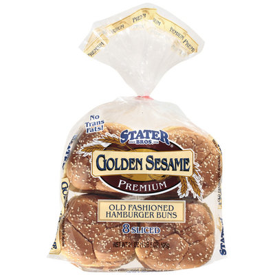 Stater Bros. Hamburger Old Fashioned Golden Sesame Buns 8 Ct Bag