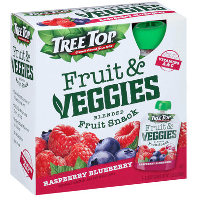 Tree Top® Fruit & Veggies Raspberry Blueberry Blended Fruit Snack 4-3.2 oz. Pouch
