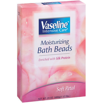Vaseline Intensive Care Soft Petal Scent Enriched W/Silk Protein Moisturizing Bath Beads Box