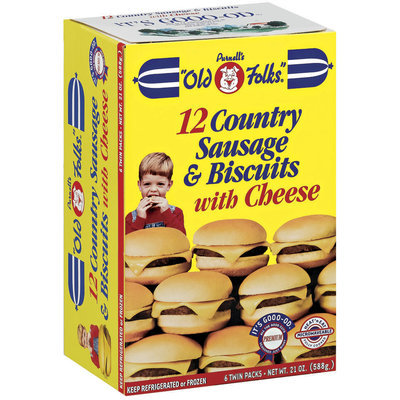 Purnell's Old Folks W/Cheese 6 Twin Packs Country Sausage & Biscuits 18 Oz Box