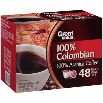 Great Value™ 100% Colombian Medium 100% Arabica Coffee 48-0.33 oz. Cups