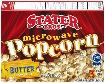 Stater Bros. Butter Flavored 3.3 Oz Bags Microwave Popcorn 3 Ct Box