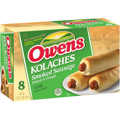 Owens® Kolaches Smoked Sausage Baked in Dough 8 ct Box