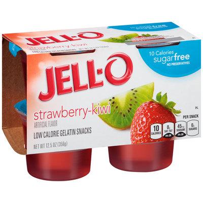 Jell-O Sugar Free Strawberry-Kiwi Low Calorie Gelatin Snacks 4 ct Cups