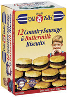 Purnell's Old Folks 6 Twin Packs Country Sausage & Buttermilk Biscuits 18 Oz Box