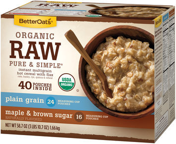 BetterOats® Organic Raw Pure & Simple® Plain Grain and Maple & Brown Sugar Instant Multigrain Hot Cereal