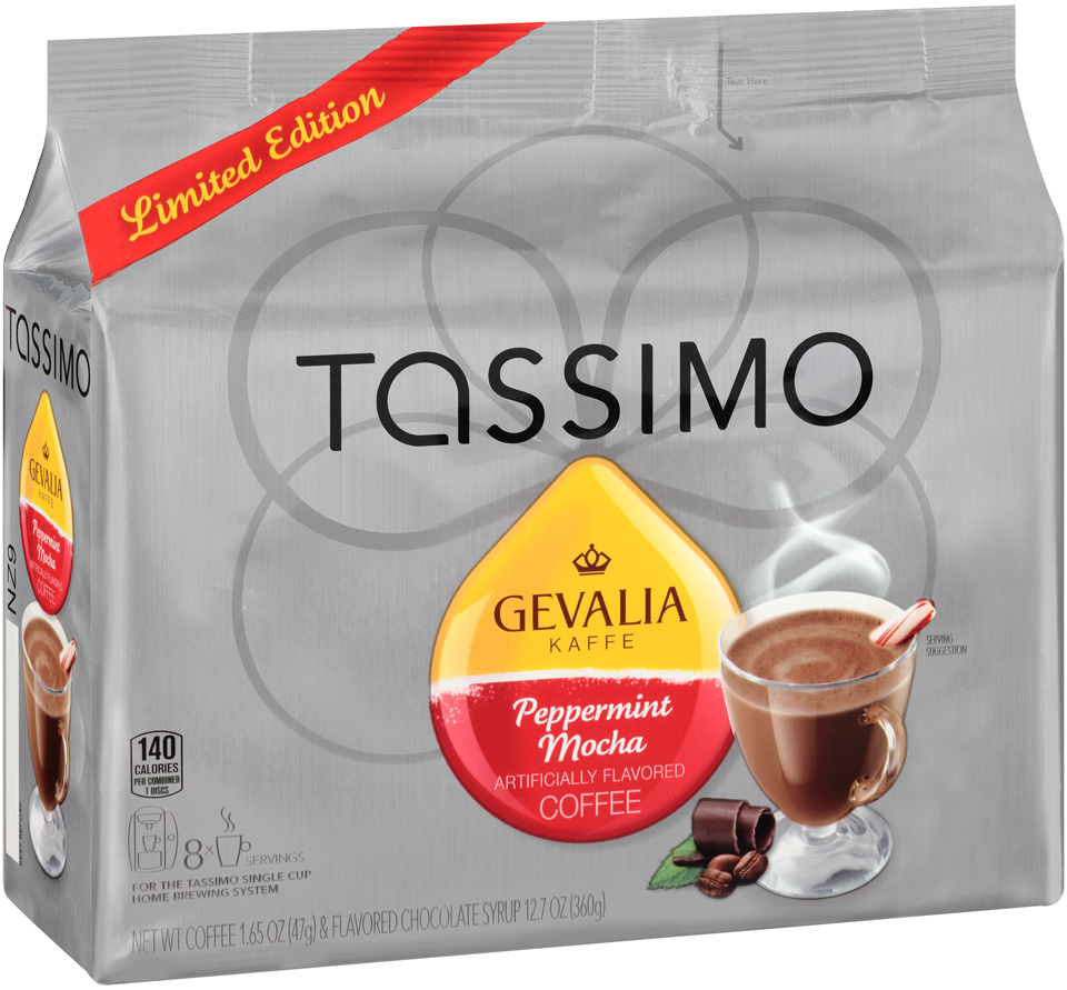 Tassimo Gevalia Limited Edition Peppermint Mocha Coffee & Flavored Chocolate Syrup T Discs 8 ct Bag