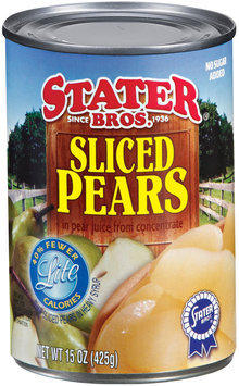 Stater Bros. In Pear Juice from Concentrate Lite Sliced Pears 15 Oz Can