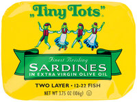 Tiny Tots® Two Layer Sardines in Extra Virgin Olive Oil 3.75 oz. Tin