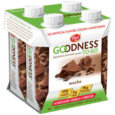 Post® Goodness-To-Go™ Mocha Breakfast/Anytime Shake 4-11 fl. oz. Bottles