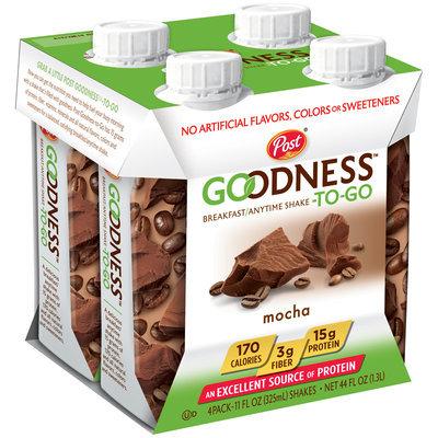 Post® Goodness-To-Go™ Mocha Breakfast/Anytime Shake 4-11 fl. oz. Bottles