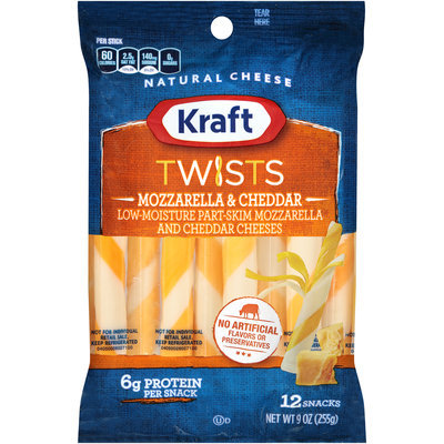 Kraft Twists Mozzarella & Cheddar Cheese Snacks 12 ct Bag