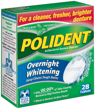 Polident® Antibacterial Overnight Whitening Triple Mint Freshness Tablets Denture Cleanser 28 ct. Box