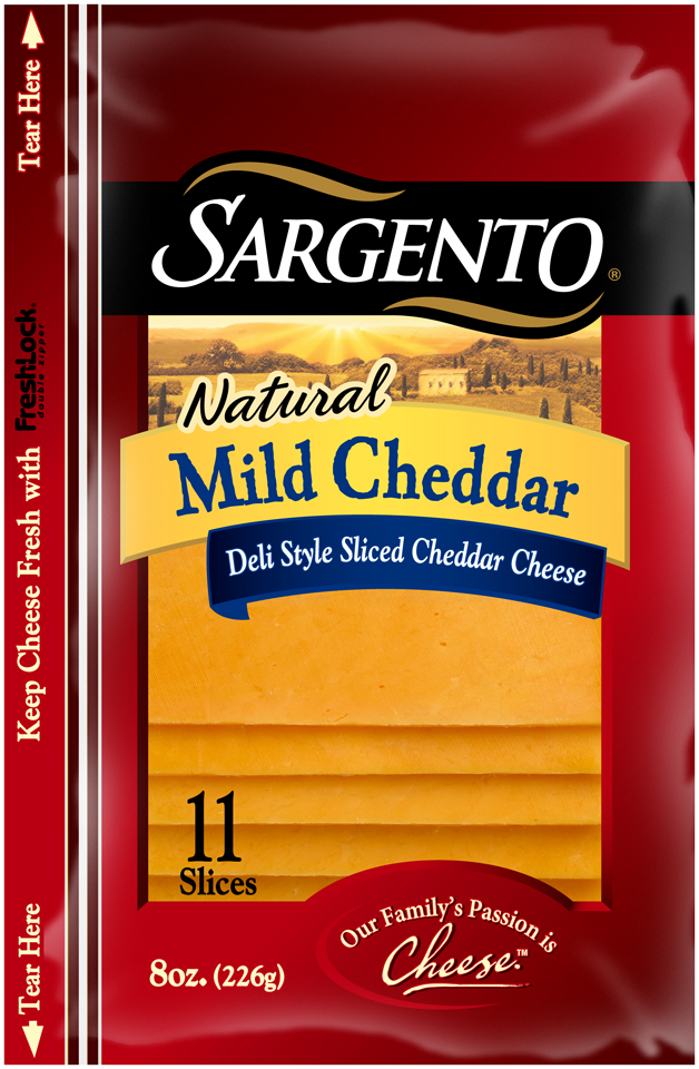 Sargento® Natural Mild Deli Style Sliced Cheddar Cheese 8 oz. Pack