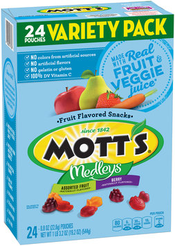 Mott's® Medleys Assorted Fruit/Berry Fruit Flavored Snacks Variety Pack 24-0.8 oz. Pouches