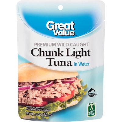 Great Value™ Premium Wild Caught Chunk Light Tuna in Water 2.6 oz. Pouch