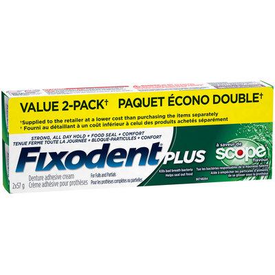 Control Plus Scope Flavor Fixodent Plus Scope Superior Hold Adhesive Cream, 57g TWIN