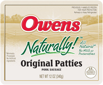 Owens® Naturally!™ Original Pork Sausage Patties 12 oz. Tray